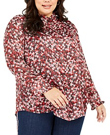 Plus Size Printed Ruffled Button-Front Top