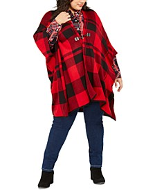 Plus Size Plaid Wrap Sweater, Created For Macy's
