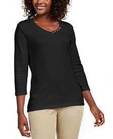 Grommet-Neck Cotton Top, Created For Macy's