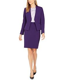 Asymmetric Blazer, Printed Pleat-Neck Top & Pencil Skirt