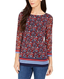 Sheer-Sleeve Floral Print Top, Created for Macy's