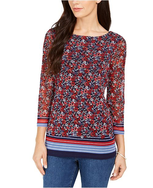 Charter Club Floral Border Top, Created For Macy's
