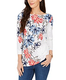 Polka Dot Floral Print Top, Created for Macy's
