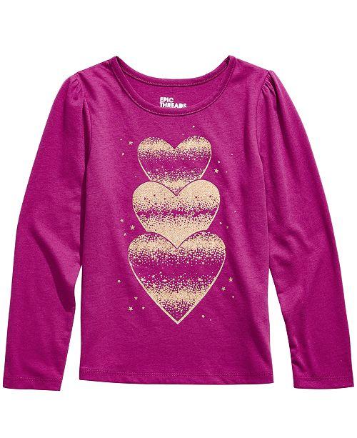Epic Threads Little Girls Glitter Hearts T-Shirt, Created For Macy's