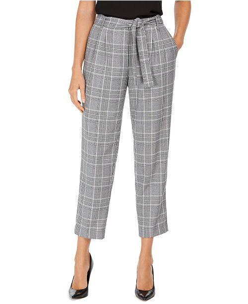 Calvin Klein Plaid Tie-Waist Pants
