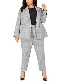 Plus Size Plaid One-Button Blazer, Sleeveless Pleated-Neck Top & Plaid Tie-Waist Pants