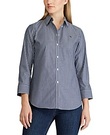 Petite Elbow-Length-Sleeve Shirt