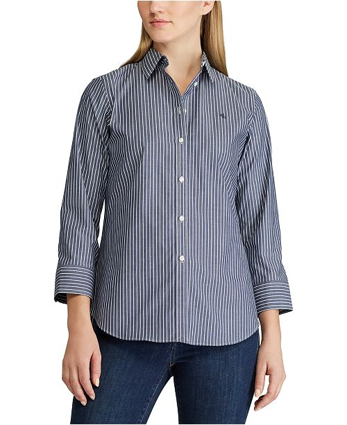 Lauren Ralph Lauren Petite Elbow-Length-Sleeve Shirt
