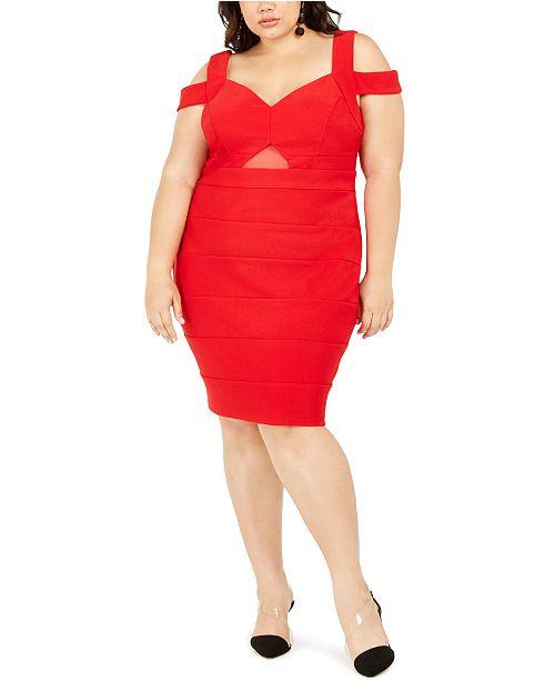 Trendy Plus Size Cold-Shoulder Bandage Dress
