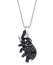 Black and White Diamond 1/10 ct. t.w. Elephant Pendant Necklace in Sterling Silver