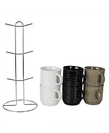 HDS Trading Pinstripe Mug Set with Stand - 6 Piece