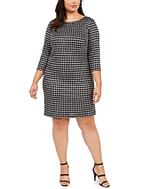 Plus Size Houndstooth Sparkle Shift Dress
