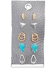 Two-Tone 5-Pc. Set Pavé & Turquoise-Look Stone Stud Earrings