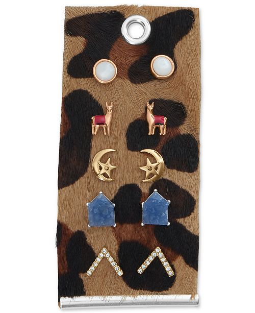 Lucky Brand Two-Tone 5-Pc. Set Llama and Moon Stud Earrings