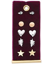 Two-Tone 5-Pc. Set Pavé Heart & Star Stud Earrings