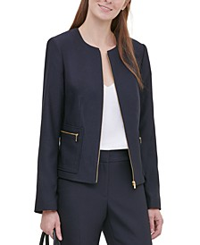 Petite Twill Zipper-Front Jacket
