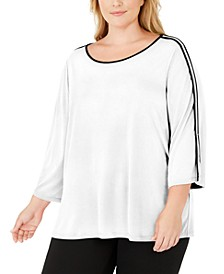 Plus Size Contrast-Trim 3/4-Sleeve Top