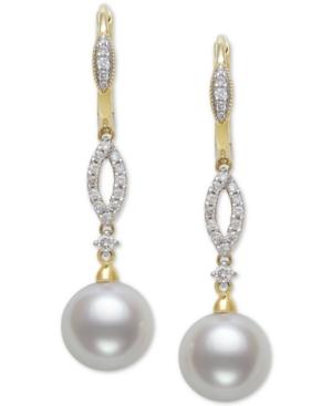Cultured Freshwater Pearl (9mm) & Diamond (1/4 ct. t.w.) Drop Earrings in 14k Gold