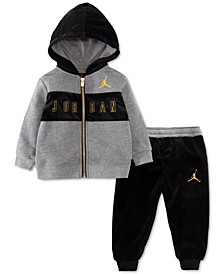 Baby Boys 2-Pc. Velour Full-Zip Hoodie & Pants Set