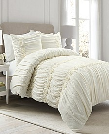 Darla Ruched 3-Piece Full/Queen Comforter Set