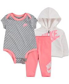 Baby Girls 3-Pc. Zip-Up Hoodie, Printed Bodysuit & Leggings Set