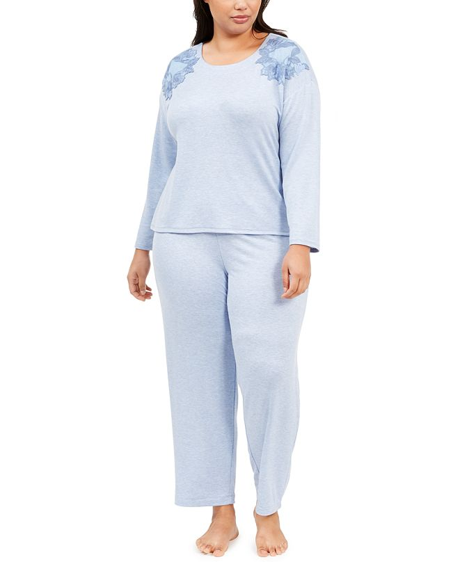 Charter Club Plus Size Embroidered Pajama Set, Created for Macy's