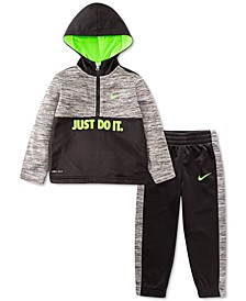 Baby Boys 2-Pc. Therma Fleece Half-Zip Pullover Hoodie & Pants Set