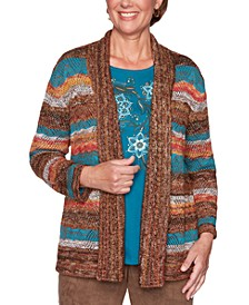 Petite Walnut Grove Stripe Point Open-Front Cardigan