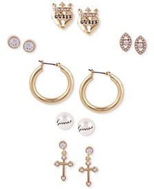 Gold-Tone 6-Pc. Set Crystal & Imitation Pearl Earrings