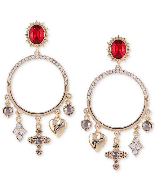GUESS Gold-Tone Multi-Crystal & Charm Hoop Drop Earrings