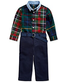 Baby Boys Plaid Shirt & Chino Pants Set