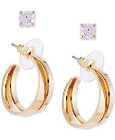 "2-Pc. Set Gold-Tone Cubic Zirconia Stud & Double-Small Hoop Earrings, 1"""