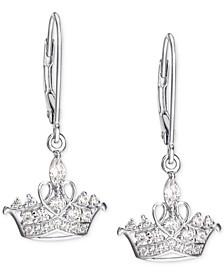 Cubic Zirconia Princess Tiara Drop Earrings in Sterling Silver