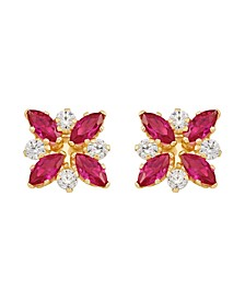 Certified Ruby (1-1/3 ct. t.w.) and White Topaz (1/3 ct. t.w.) Flower Cluster Earrings in 10k Yellow Gold