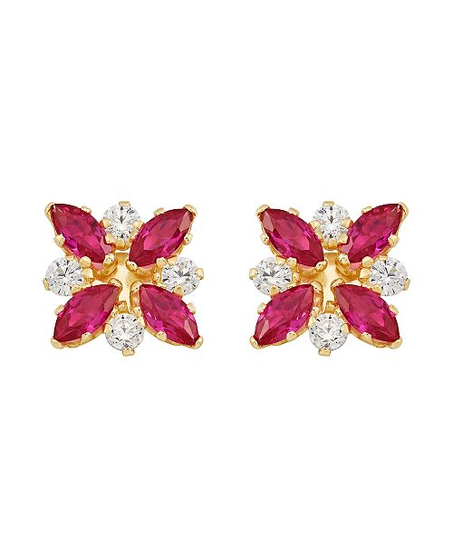 Macy's Certified Ruby (1-1/3 ct. t.w.) and White Topaz (1/3 ct. t.w.) Flower Cluster Earrings in 10k Yellow Gold