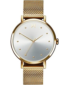 Women's Dot Flash Gold Ion-Plated Steel Mesh Bracelet Watch 36mm