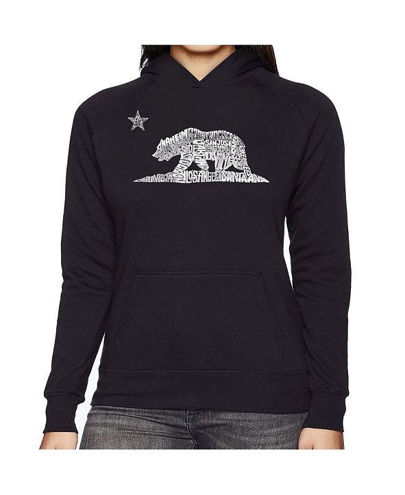 LA Pop Art Women's Word Art Hooded Sweatshirt - California Bear