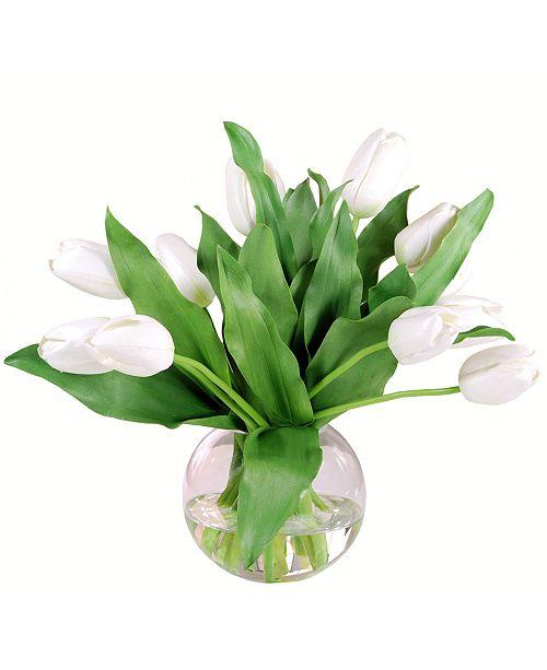 Winward Silks Permanent Botanicals Tulip in Bubble Bowl