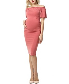 Becka Maternity Convertible Shoulder Midi Dress