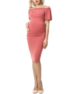 Kimi + Kai Becka Maternity Convertible Shoulder Midi Dress