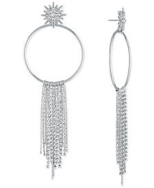 Silver-Tone Crystal Starburst Chain Hoop Earrings