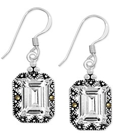 Genuine Swarovski Marcasite & Crystal Drop Earrings in Fine Silver-Plate