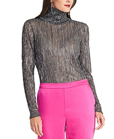 Val Metallic Turtleneck Top