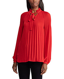 Lauren Ralph Lauren Pleated Tie-Front Top