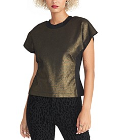 Karlie Metallic-Front Flutter-Sleeve Top