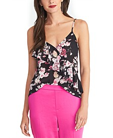 Karlie Sleeveless Printed Ruffled Top