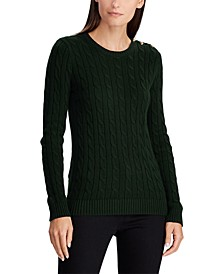 Button-Trim Cable Sweater