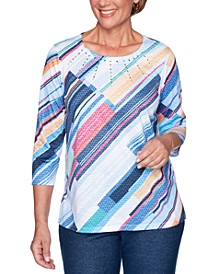 Petite Road Trip Diagonal-Stripe Embellished Top