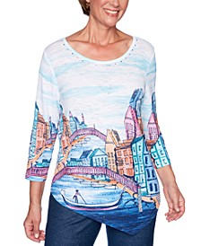 Petite Road Trip Printed Asymmetrical Hem Top