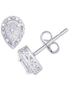 Diamond 1/10 ct. t.w. Pear Miracle Plate Stud Earrings in Sterling Silver